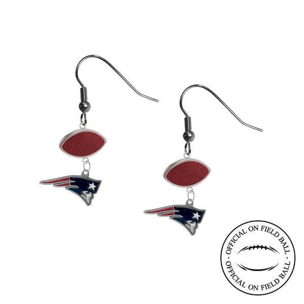 New England Patriots NFL Authentic Official On Field Leather Football Dangle Earrings