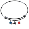 New England Patriots Black NFL Expandable Wire Bangle Charm Bracelet