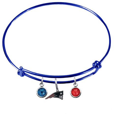 New England Patriots Blue NFL Expandable Wire Bangle Charm Bracelet
