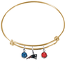 New England Patriots Gold NFL Expandable Wire Bangle Charm Bracelet