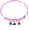 New England Patriots Pink NFL Expandable Wire Bangle Charm Bracelet