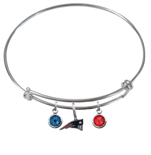 New England Patriots NFL Expandable Wire Bangle Charm Bracelet
