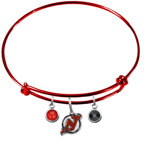 New Jersey Devils Color Edition RED Expandable Wire Bangle Charm Bracelet
