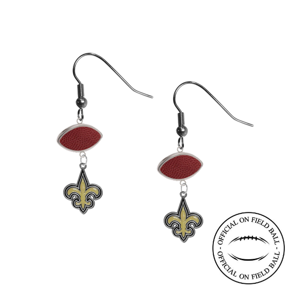 New Orleans Saints NFL Authentic Official On Field Leather Football Dangle Earrings