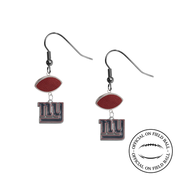 New York Giants NFL Authentic Official On Field Leather Football Dangle Earrings