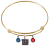 New York Giants Gold NFL Expandable Wire Bangle Charm Bracelet