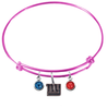 New York Giants Pink NFL Expandable Wire Bangle Charm Bracelet