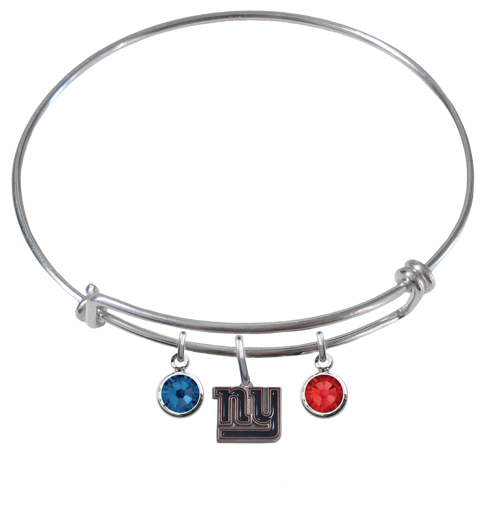 New York Giants NFL Expandable Wire Bangle Charm Bracelet