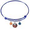 New York Islanders Color Edition BLUE Expandable Wire Bangle Charm Bracelet
