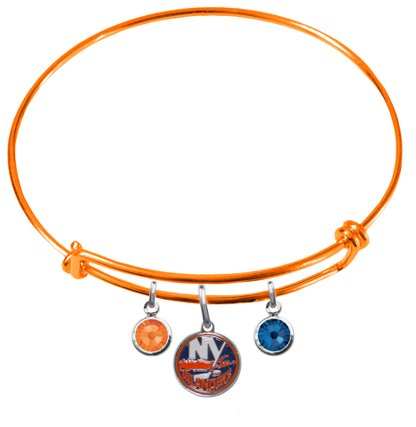 New York Islanders Color Edition ORANGE Expandable Wire Bangle Charm Bracelet