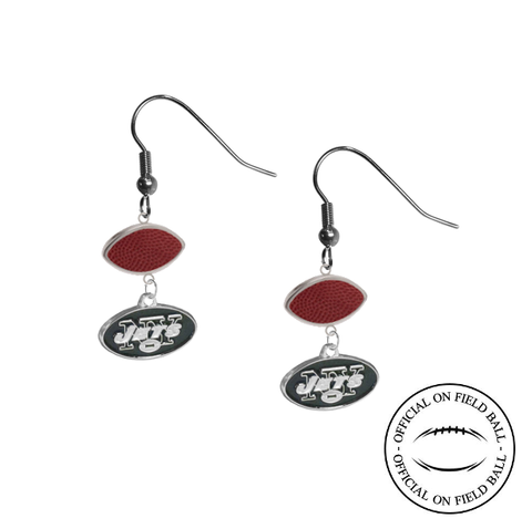 New York Jets NFL Authentic Official On Field Leather Football Dangle Earrings