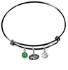 New York Jets Black NFL Expandable Wire Bangle Charm Bracelet