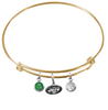 New York Jets Gold NFL Expandable Wire Bangle Charm Bracelet