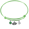 New York Jets Lime Green NFL Expandable Wire Bangle Charm Bracelet