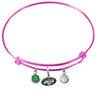 New York Jets Pink NFL Expandable Wire Bangle Charm Bracelet