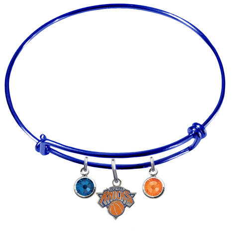 New York Knicks BLUE Color Edition Expandable Wire Bangle Charm Bracelet