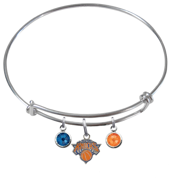 New York Knicks NBA Expandable Wire Bangle Charm Bracelet