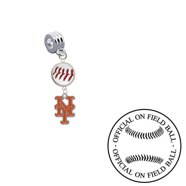 New York Mets On Field Baseball Universal European Bracelet Charm (Pandora Compatible)