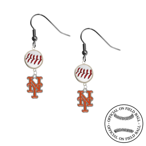 New York Mets MLB Authentic Rawlings On Field Leather Baseball Dangle Earrings