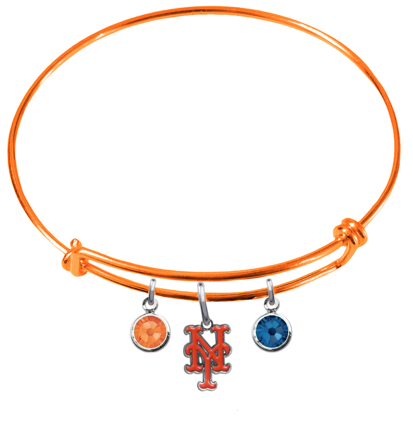 New York Mets Orange MLB Expandable Wire Bangle Charm Bracelet