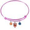 New York Mets Pink MLB Expandable Wire Bangle Charm Bracelet