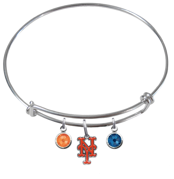 New York Mets MLB Expandable Wire Bangle Charm Bracelet