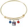 New York Rangers Color Edition GOLD Expandable Wire Bangle Charm Bracelet