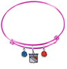 New York Rangers Color Edition PINK Expandable Wire Bangle Charm Bracelet