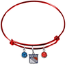 New York Rangers Color Edition RED Expandable Wire Bangle Charm Bracelet