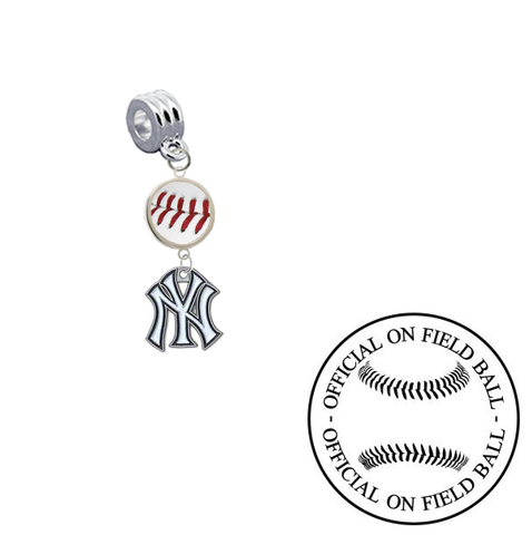 New York Yankees On Field Baseball Universal European Bracelet Charm (Pandora Compatible)