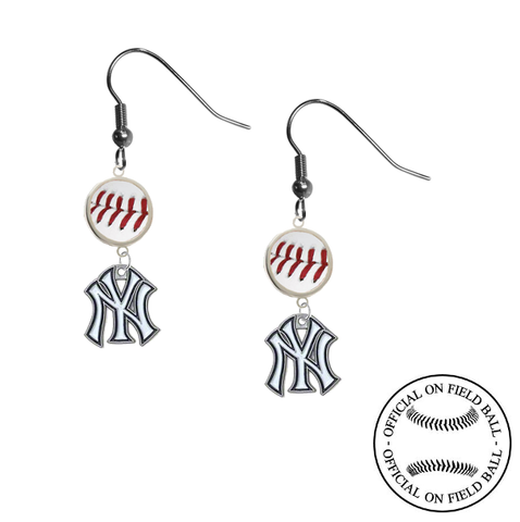 New York Yankees MLB Authentic Rawlings On Field Leather Baseball Dangle Earrings