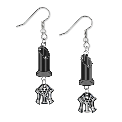 New York Yankees MLB World Series Trophy Dangle Earrings