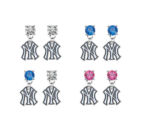 New York Yankees MLB Swarovski Crystal Stud Rhinestone Earrings