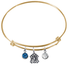 New York Yankees Gold MLB Expandable Wire Bangle Charm Bracelet