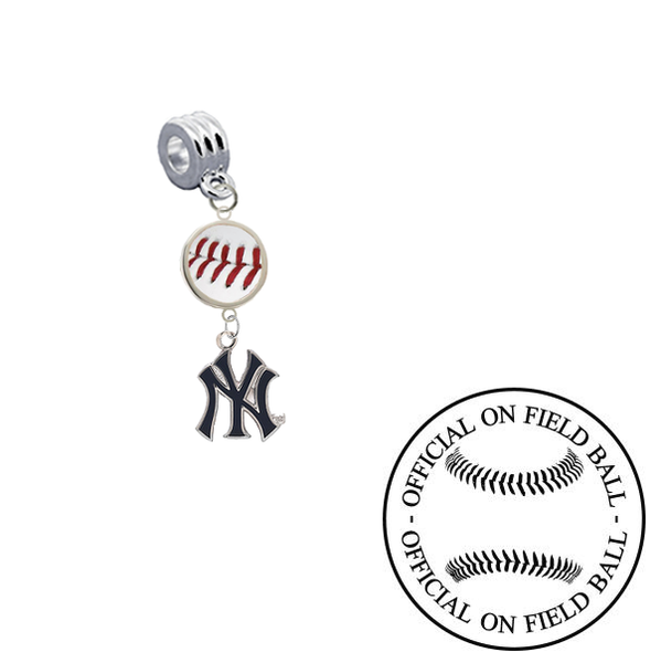 New York Yankees 2 On Field Baseball Universal European Bracelet Charm (Pandora Compatible)