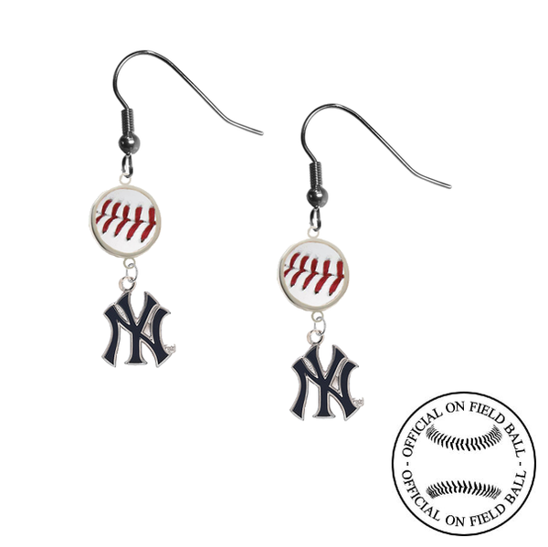 New York Yankees Style 2 MLB Authentic Rawlings On Field Leather Baseball Dangle Earrings