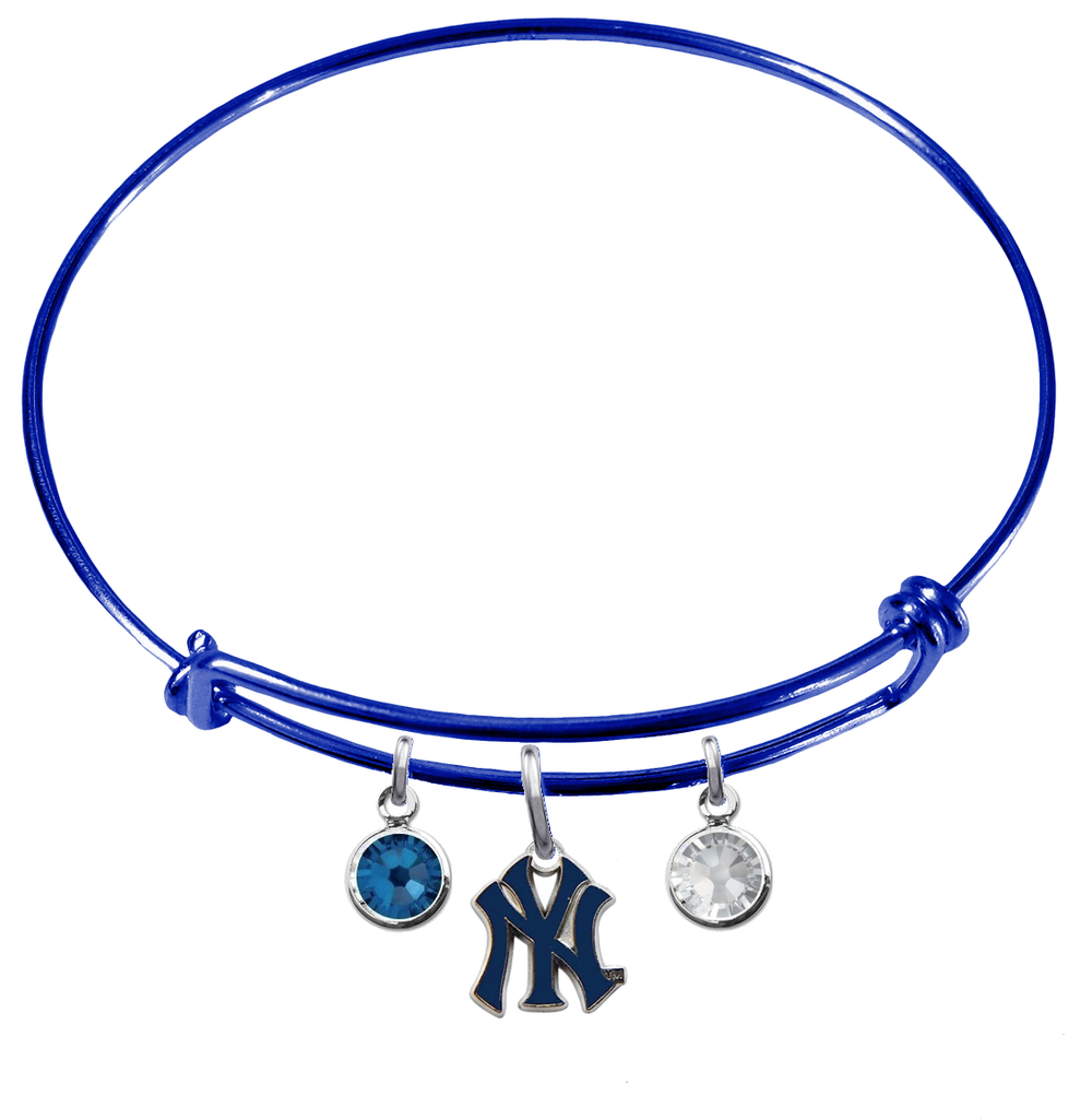 New York Yankees Style 2 Blue MLB Expandable Wire Bangle Charm Bracelet