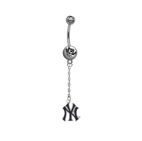 New York Yankees Style 2 Dangle Chain Belly Button Navel Ring
