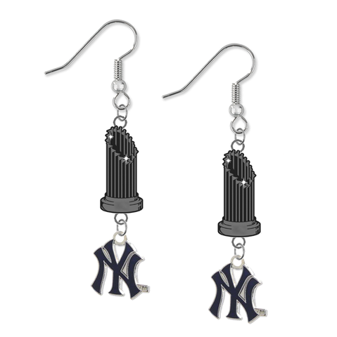 New York Yankees Style 2 MLB World Series Trophy Dangle Earrings
