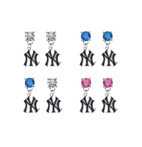 New York Yankees Style 2 MLB Swarovski Crystal Stud Rhinestone Earrings