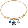 New York Yankees Style 2 Gold MLB Expandable Wire Bangle Charm Bracelet