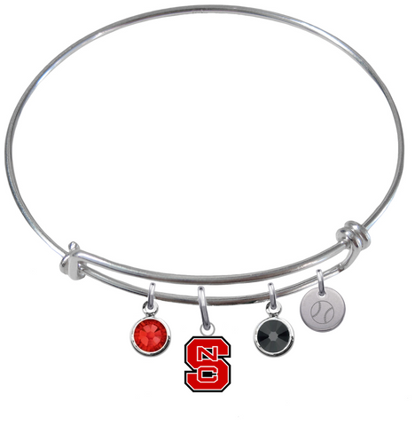 North Carolina State Wolfpack Baseball Expandable Wire Bangle Charm Bracelet