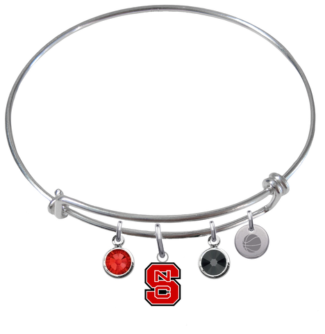 North Carolina State Wolfpack Basketball Expandable Wire Bangle Charm Bracelet