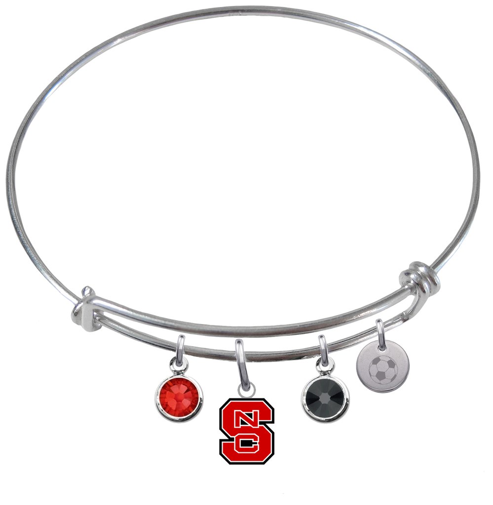 North Carolina State Wolfpack Soccer Expandable Wire Bangle Charm Bracelet