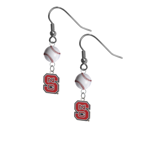 North Carolina State Wolfpack NCAA Baseball Dangle Earrings