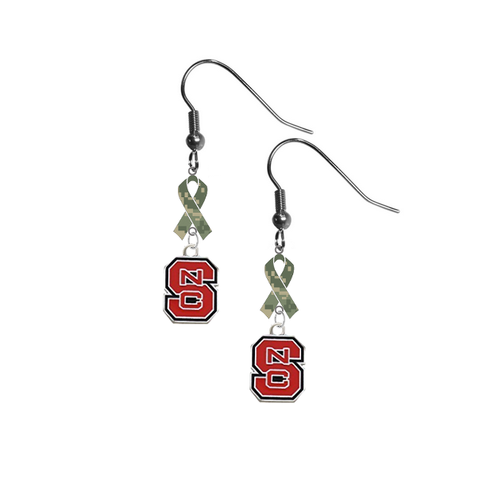 North Carolina State Wolfpack Salute to Service Camouflage Camo Ribbon Dangle Earrings