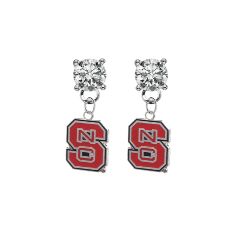 North Carolina State Wolfpack CLEAR Swarovski Crystal Stud Rhinestone Earrings