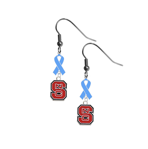North Carolina State Wolfpack Prostate Cancer Awareness Light Blue Ribbon Dangle Earrings