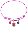 North Carolina State Wolfpack PINK Color Edition Expandable Wire Bangle Charm Bracelet