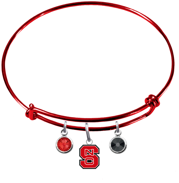 North Carolina State Wolfpack RED Color Edition Expandable Wire Bangle Charm Bracelet
